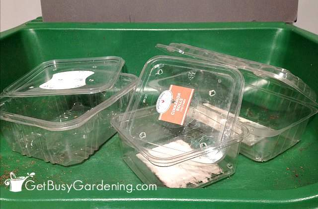 Plastic containers from bakery goods