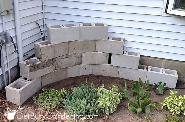 My cinder block corner planter design layout