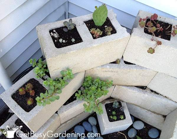 My decorative concrete block planter project completed