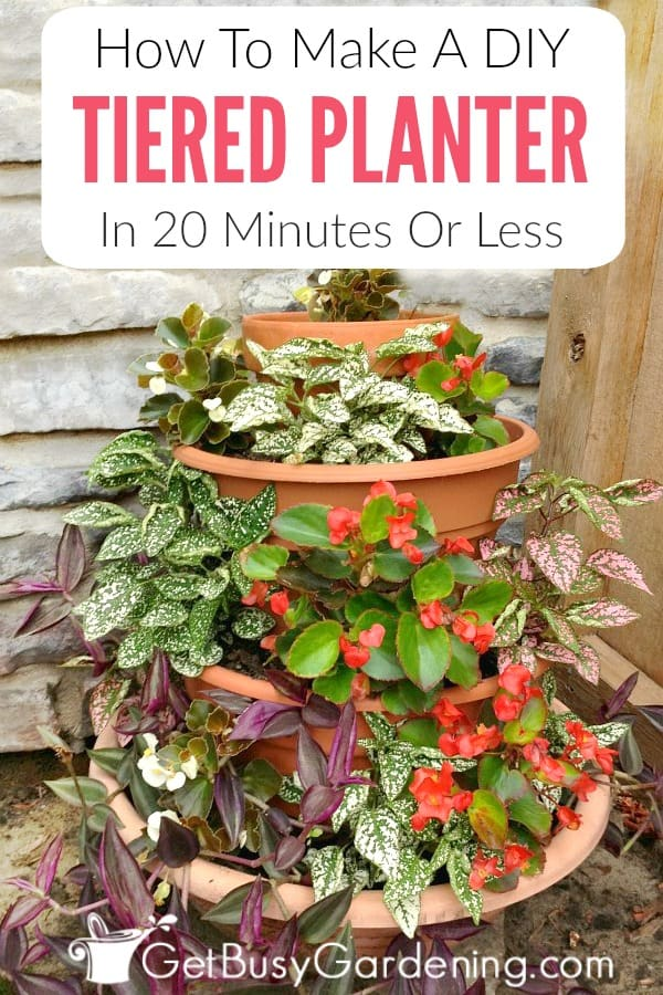 Tiered flower pots are a great way to add height and color to your deck, porch or patio. This multi tiered planter DIY project is super easy, and takes only 20 minutes (or less) to complete. Learn how to make a tiered planter of your own!