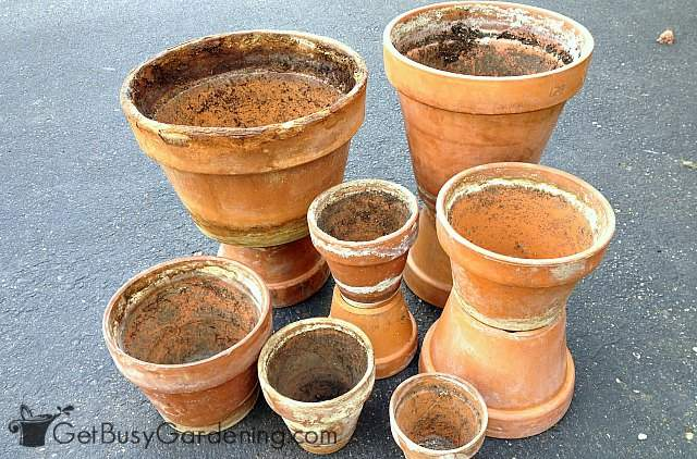Before cleaning crusty old clay pots