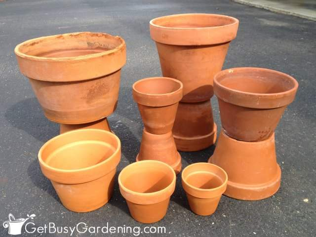 Clean and shiny terracotta pots look brand new