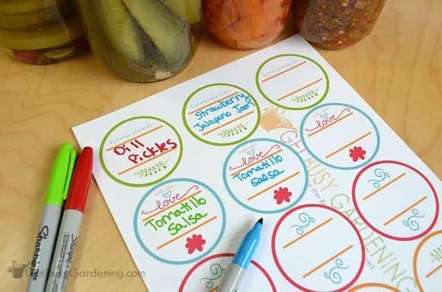 Use colorful markers on canning labels