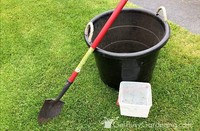 Supplies needed to mix soil for container gardening