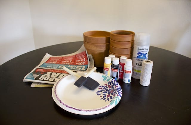 Supplies needed for painting terracotta pots