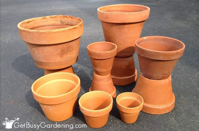 A variety of clean terracotta pots ready to paint