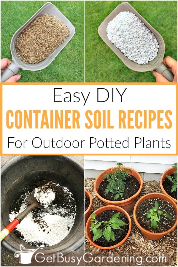 Making homemade soil for container gardening is easy, and saves money. These DIY container soil recipes are simple to prepare, and require only a few ingredients, including peat moss or coco coir, perlite, vermiculite and compost + optional soil amendments. Learn how to make potting soil for containers, step-by-step, and get two simple container mix recipes. One is a general purpose mix for outdoor potted plants, and the other is a soilless potting mix recipe.