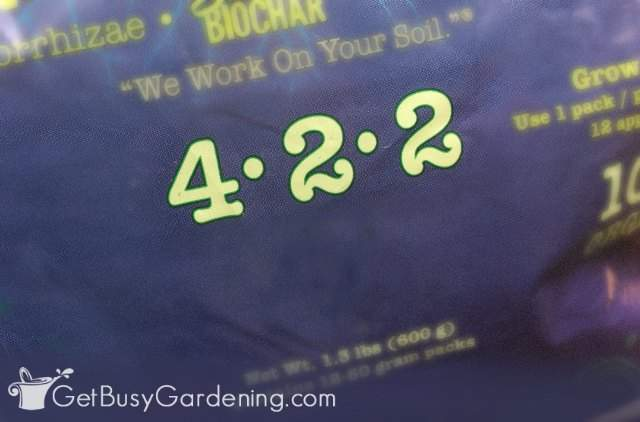 N-P-K numbers on a potted plant food bag