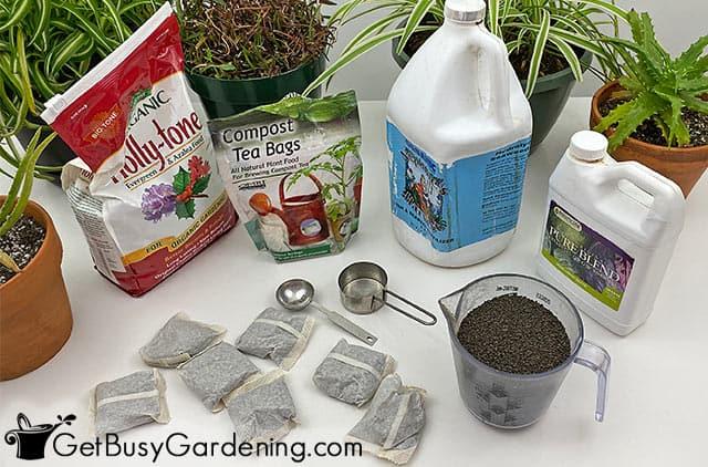 Various houseplant fertilizer products