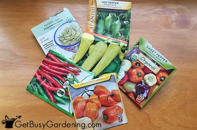 Different types of pepper seed packets
