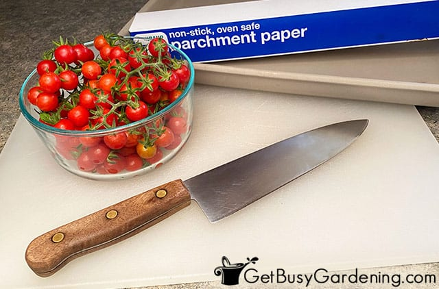 Supplies for making sun dried cherry tomatoes