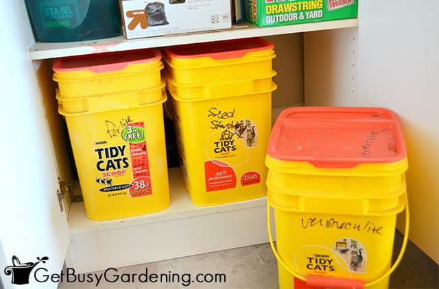 Keeping leftover potting soil in sealed buckets
