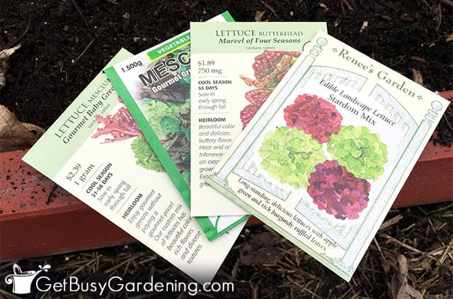 Different types of lettuce seed packets