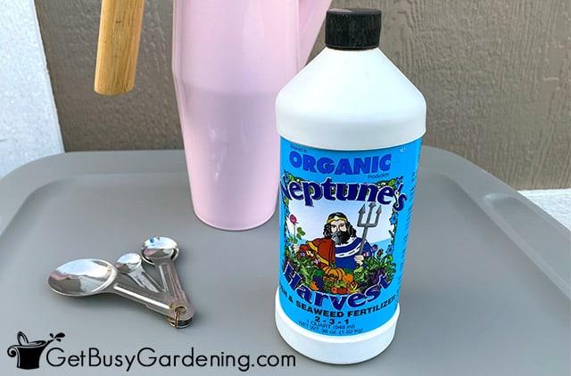 Mixing liquid fertilizer for my vegetables