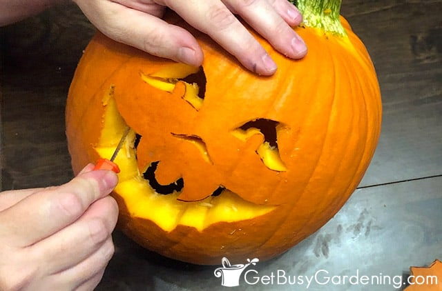 Carving a jack o lantern for Halloween